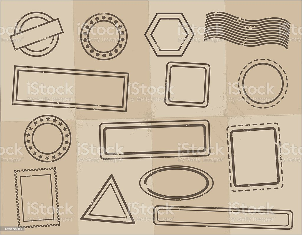 Grunge stamps on parchment paper royalty-free stock vector art