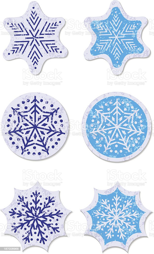 grunge star snow sticker royalty-free stock vector art