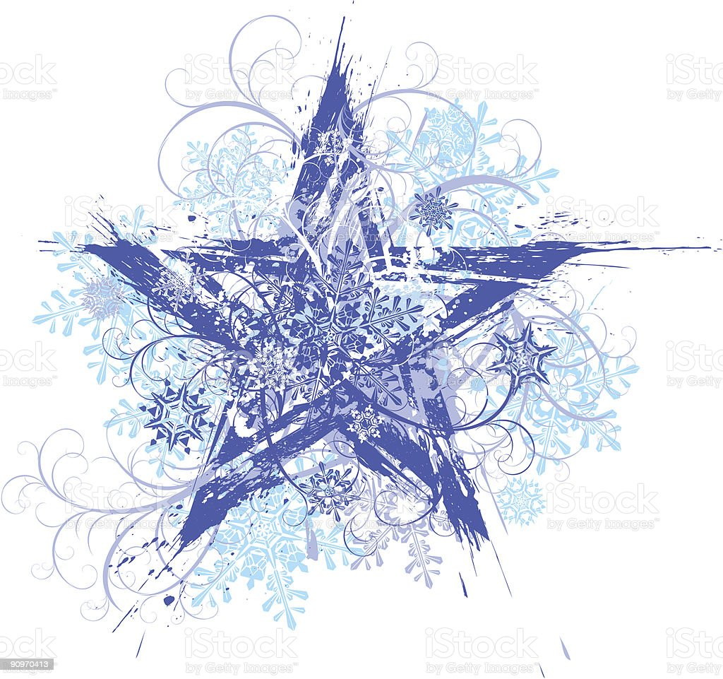 grunge star & snowflakes on flowers ornament royalty-free stock vector art