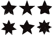Six grunge vector stars isolated on white background