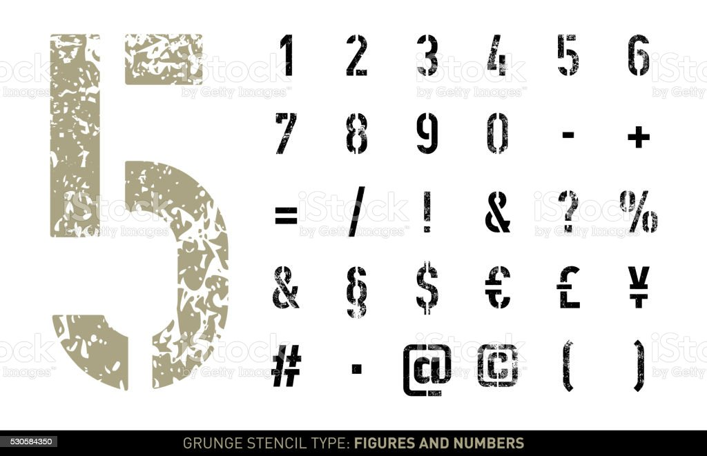 Grunge stencil numbers and signs vector art illustration