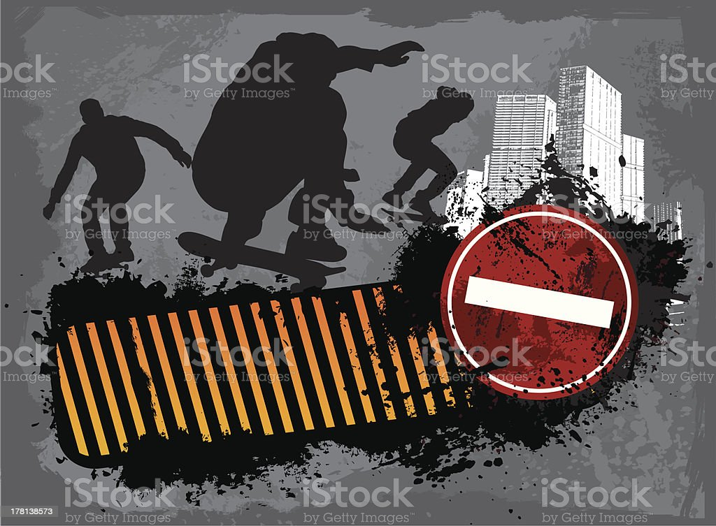 Grunge Street skaters royalty-free stock vector art