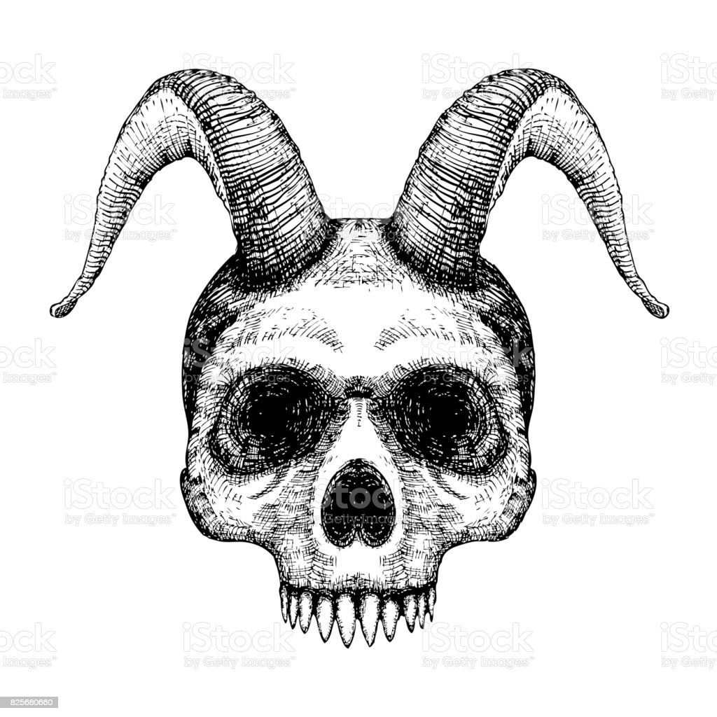Grunge style art of human skull with goat horns. Print design. Demon Head. A demon,  supernatural, malevolent. Witchcraft, black magic, occultism, mythology and folklore, religion attribute. Vector. vector art illustration