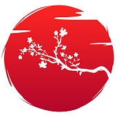 Grunge style flag of Japan icon art. Silhouette blossoms branch sakura flowers and cloud on background red sun. Spring and summer tree cherry wedding symbol culture. Vector illustration T-shirt print