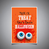 Grunge style Halloween background with eyeballs