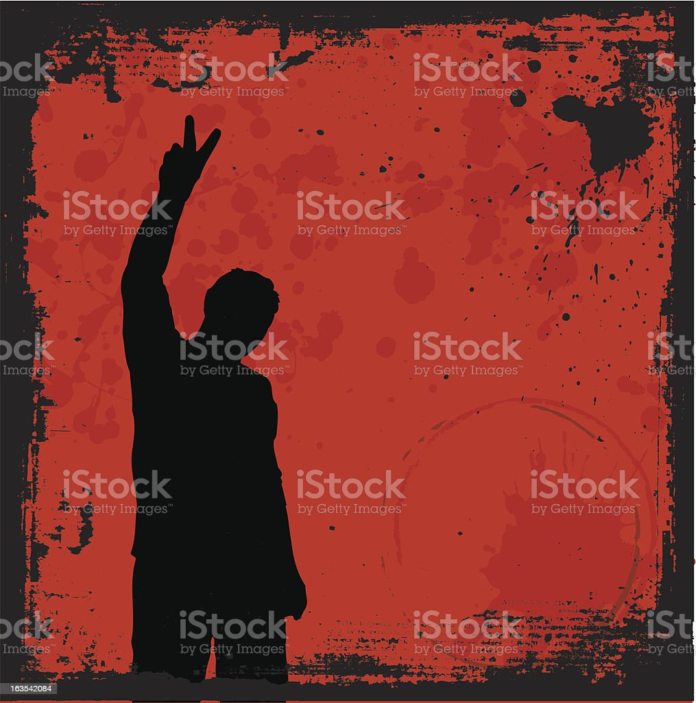 Grunge style silhouette of person holding up peace sign royalty-free stock vector art