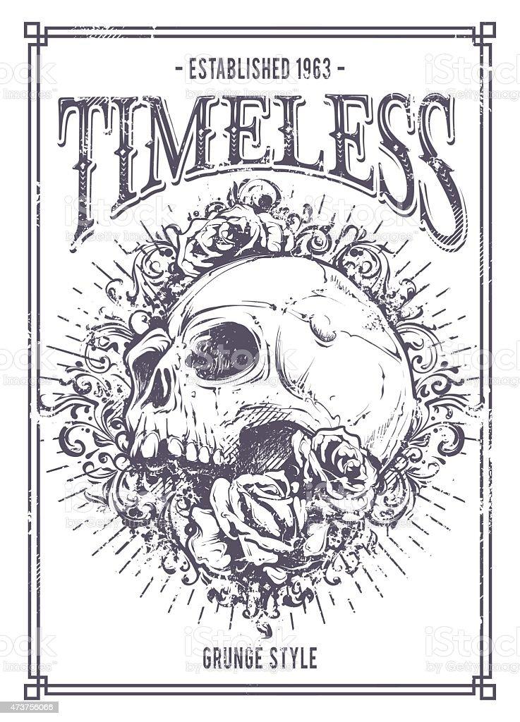 Grunge Style Skull And Roses Artwork In Art Deco Frame Stock Vector ...