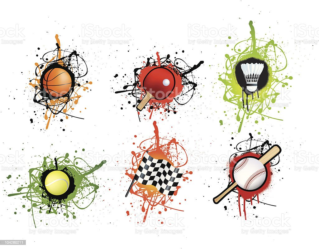 Grunge style sports icon set royalty-free stock vector art