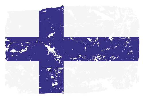 Grunge styled flag of Finland