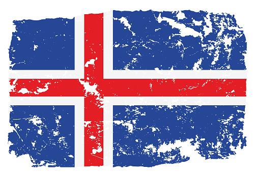 Grunge styled flag of Iceland