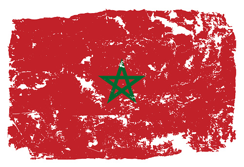 Grunge styled flag of Morocco