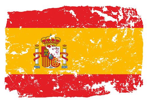 Grunge styled flag of Spain