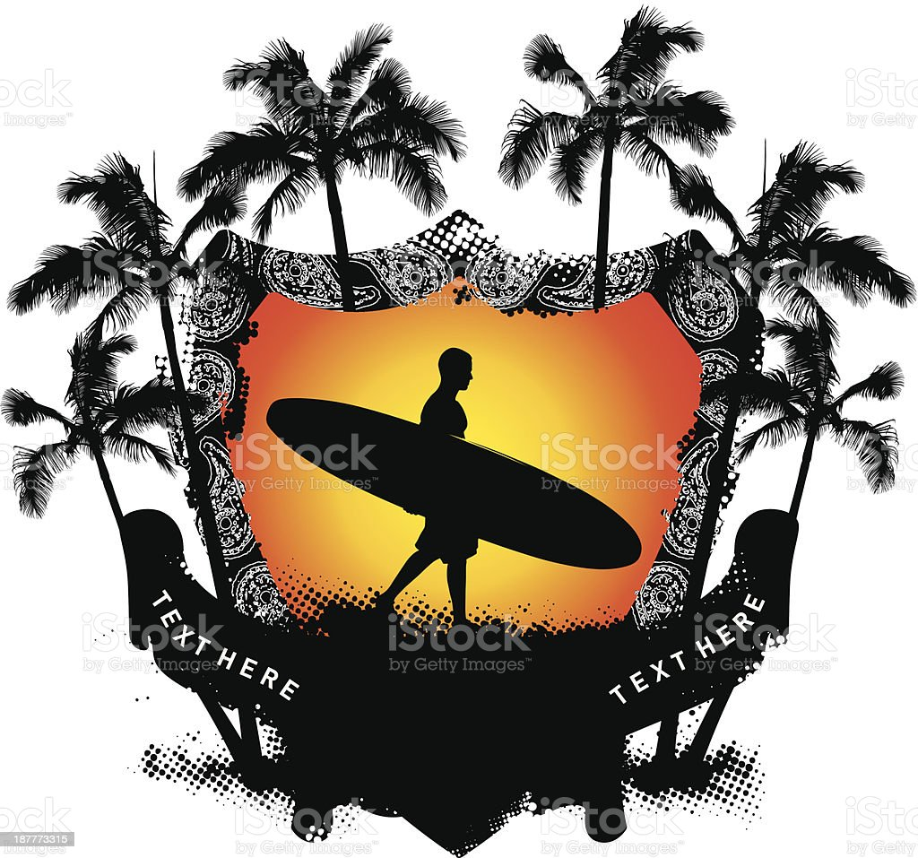 grunge summer shield with surfer walking royalty-free stock vector art