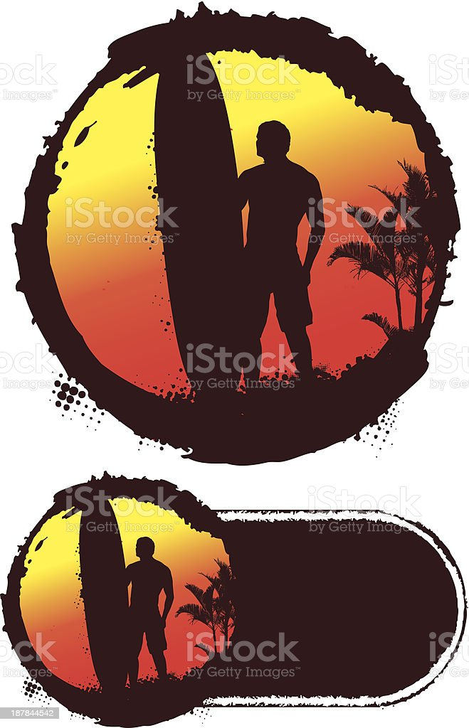 grunge sunset circle with surfer and big table royalty-free grunge sunset circle with surfer and big table stock vector art & more images of adult