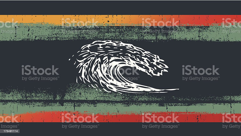 grunge surf flag with pipeline wave royalty-free stock vector art