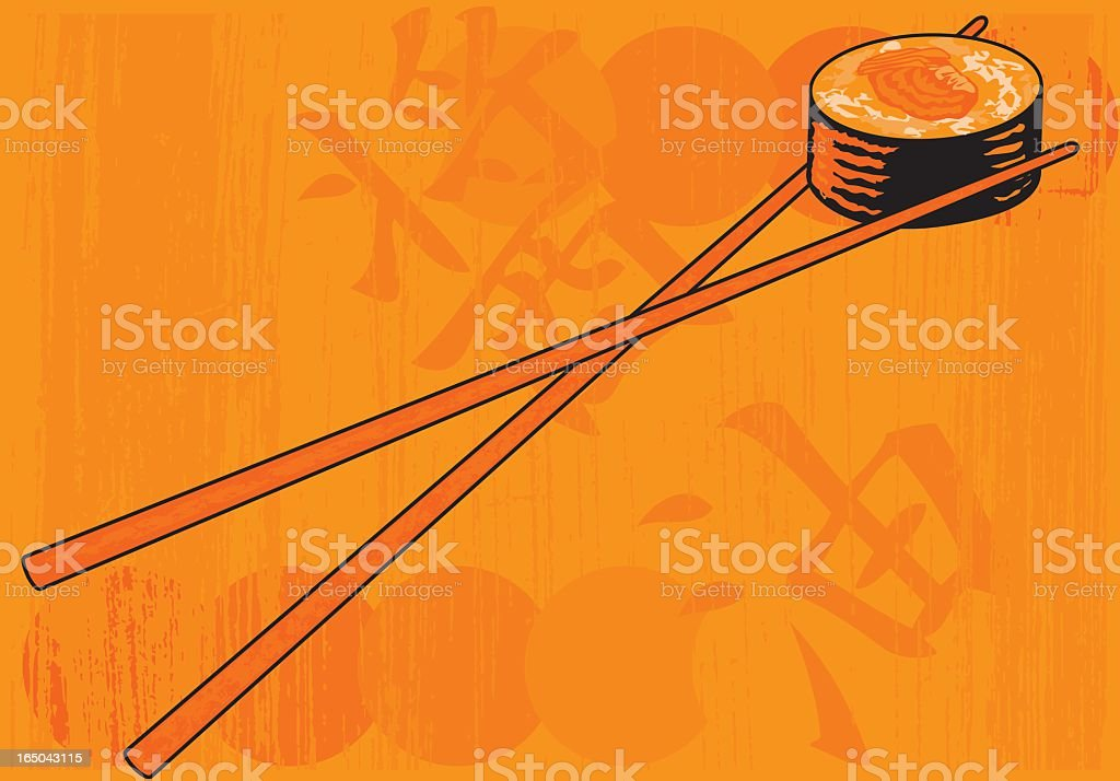 Grunge Sushi in orange royalty-free stock vector art