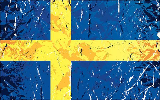 グランジスウェーディッシュフラグ - スウェーデンの国旗点のイラスト素材/クリップアート素材/マンガ素材/アイコン素材