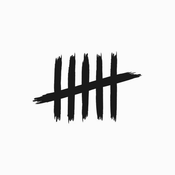 Grunge tally marks. Icon, sign, symbol drawn by hand with rough brush. Sketch, ink, watercolor. Grunge tally marks. Icon, sign, symbol drawn by hand with rough brush. Sketch, ink, watercolor. Isolated vector illustration. counting stock illustrations
