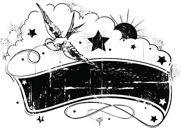 ilustraciones, imágenes clip art, dibujos animados e iconos de stock de tatuaje estilo grunge sol y tragar banner - tatuajes del sol