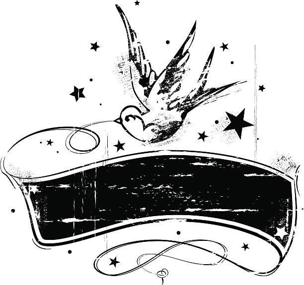 タトゥースタイルのグランジバナーツバメ - 星のタトゥー点のイラスト素材/クリップアート素材/マンガ素材/アイコン素材
