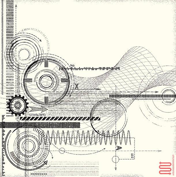 Grunge Technical Drawing vector art illustration