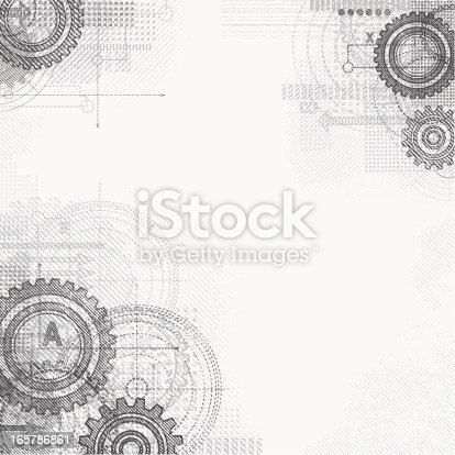 Abstract grunge technical drawing.File is layered and global colors used.Hi res jpeg and Illustrator 10 file with whole shapes included.More works like this linked below.