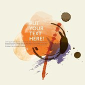 Square grunge design vignette / template with place for headline and copy text. The design is based on water color, coffee stains and splattered paint in orange, purple and brown on a yellowed paper background – giving a modern, fresh and artistic impression. Download comes with an additional high resolution RGB JPG without dummy text