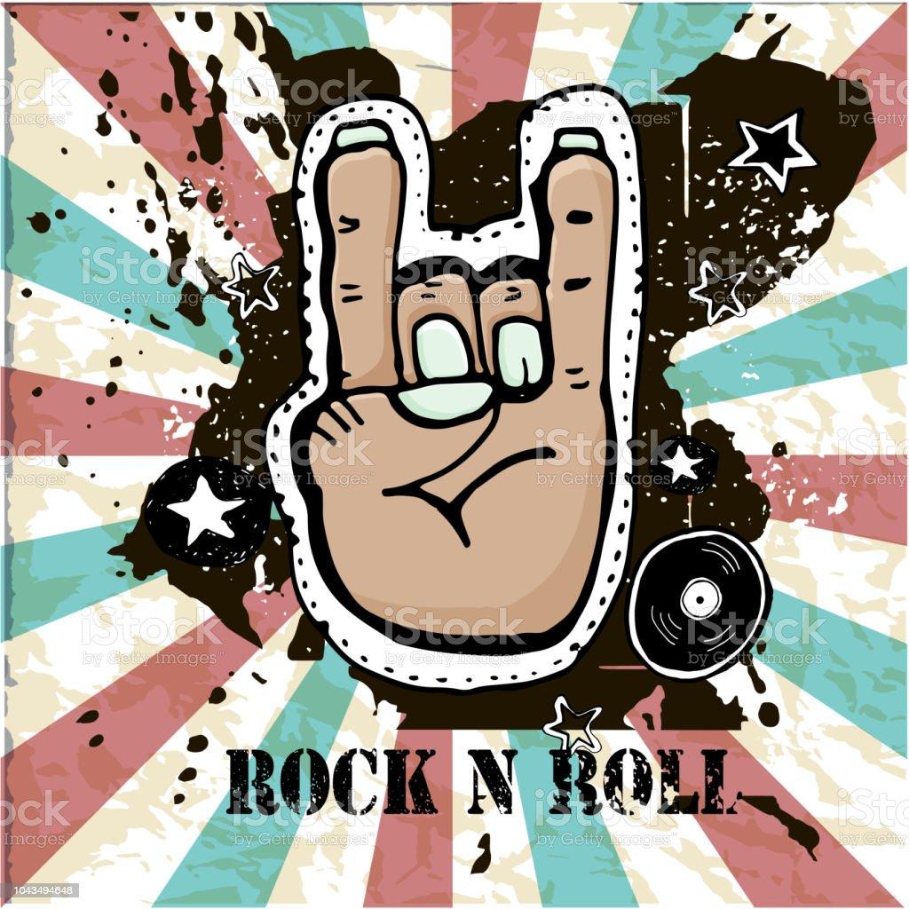 Grunge Texture Background Text Rock N Roll Hand Palm Rock Symbol
