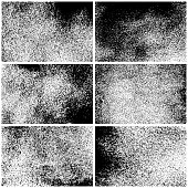 Set of grunge texture backgrounds. One color - black. Set of six different rectangular backdrops. Vector design elements.