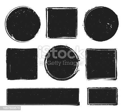 Grunge texture stamp. Circle label, square frame with grunge textures and post rubber stamps prints or distress dirt scratching insignia logo shapes isolated symbol vector collection