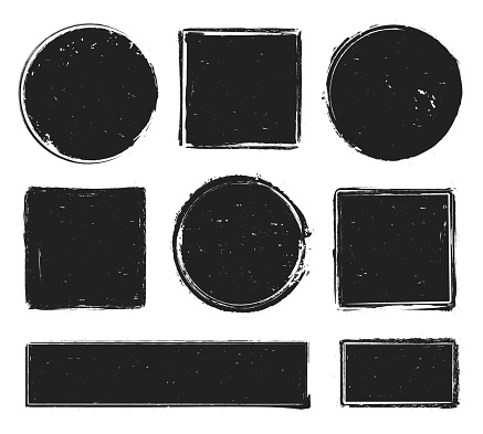 Grunge texture stamp. Circle label, square frame with grunge textures and rubber stamps prints isolated vector collection