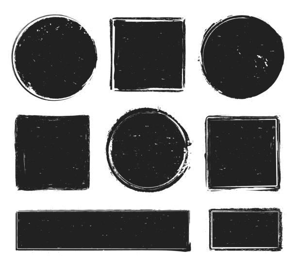 illustrazioni stock, clip art, cartoni animati e icone di tendenza di grunge texture stamp. circle label, square frame with grunge textures and rubber stamps prints isolated vector collection - sigillo timbro