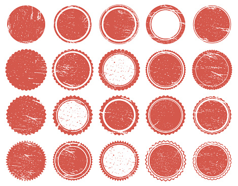 Grunge texture stamp. Rubber red circle stamps, distressed texture red vintage marks. Sale round stamps vector illustration set. Post round badge with scratches isolated collection