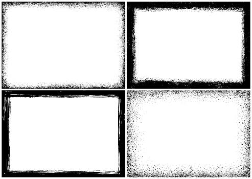 Set of four grunge frames. Rectangle borders. Texture design elements