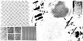 Black grunge paint marks and textured patterns illustration