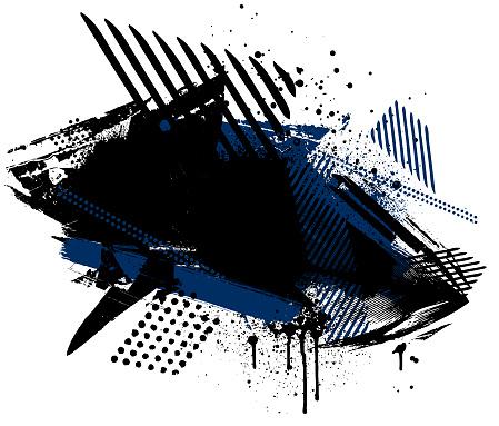 Black grunge paint mark and textured patterns illustration