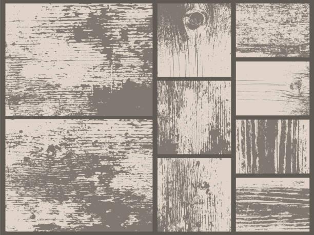 ilustrações, clipart, desenhos animados e ícones de conjunto de texturas grunge. madeira velha. metal enferrujado. couro. solo. deserto. antic. - textura de madeira