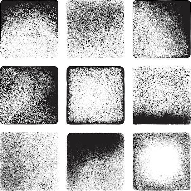 Grunge textures Vector illustration. Set of 9 grunge squares. All the squares feature different textures and are executed in black. run down stock illustrations