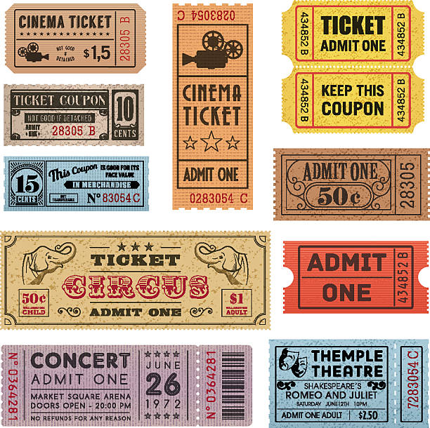 Grunge Tickets Collection 1 A collection of 11 vector grunted Tickets, Vector file is organized with layers, with every ticket divided into 3 layers, separating Background Shape from the texture effect and text. admit one stock illustrations