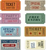 A collection of 8 vector grunge Tickets.
