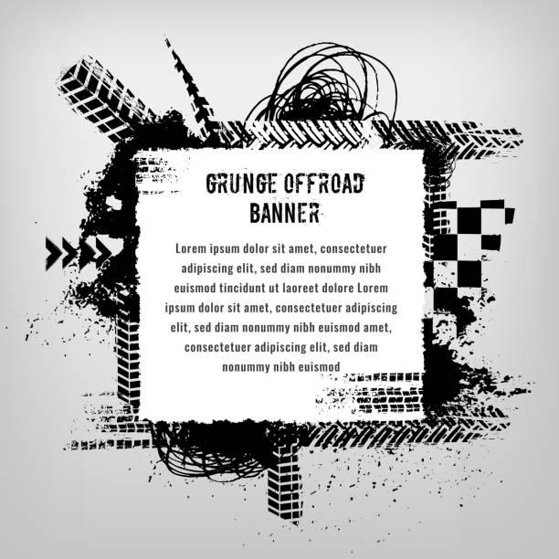 illustrazioni stock, clip art, cartoni animati e icone di tendenza di grunge tire banner - transport truck tyres