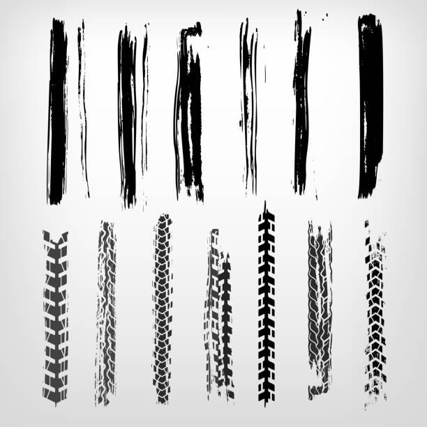 illustrazioni stock, clip art, cartoni animati e icone di tendenza di grunge tire element - bike tire tracks