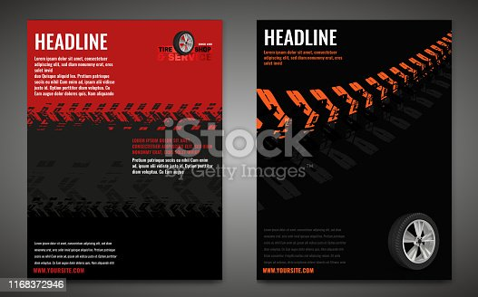 Vector automotive banner template. Grunge tire tracks background for vertical poster, digital banner, flyer, booklet, brochure, web design. Editable graphic image in black, red, grey, orange colors
