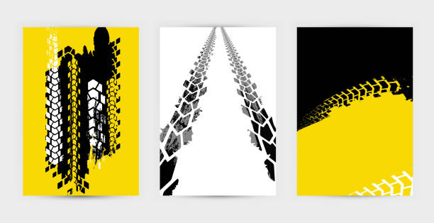 Grunge Tire Posters Set 1-15 Vector automotive banners template. Grunge tire tracks backgrounds for landscape poster, digital banner, flyer, booklet, brochure and web design. Editable graphic image in grey and white colors tire vehicle part stock illustrations