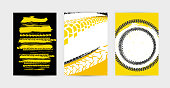 Vector auto posters template. Grunge tire tracks backgrounds for portrait  poster, digital banner, flyer, booklet, brochure and web design. Editable graphic image in black, yellow, red, white colors