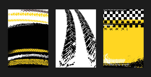 Grunge Tire Posters Vector automotive posters template. Grunge tire tracks backgrounds for portrait poster, digital banner, flyer, booklet, brochure and web design. Editable graphic image in black, yellow, white colors auto racing stock illustrations