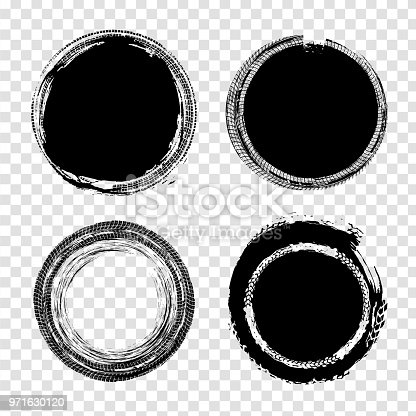 Grunge off-road stamp shaped elements. Automotive collection useful for banner, quality sign, logo, icon, label and badge design . Tire tracks vector illustration in black colour isolated on a transparent background.