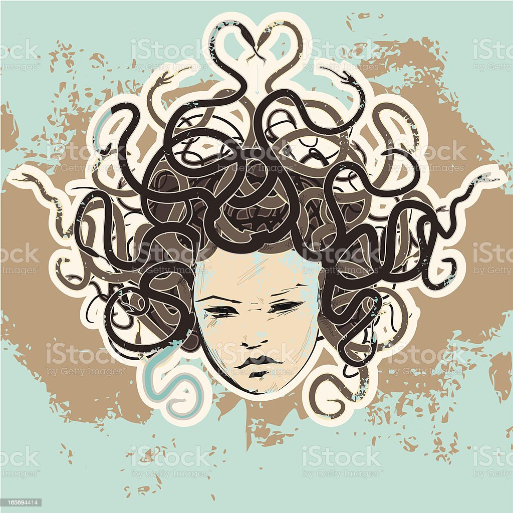 grunge \tmedusa vector art illustration