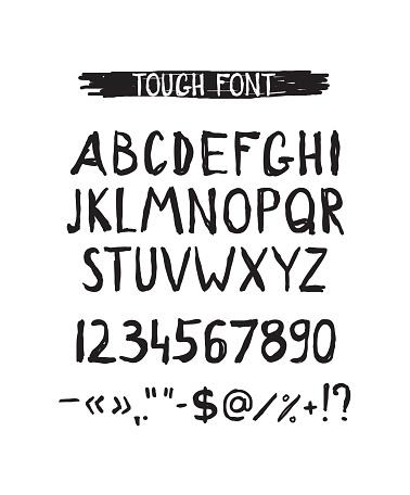 Grunge tough simple font. Universal alphabet
