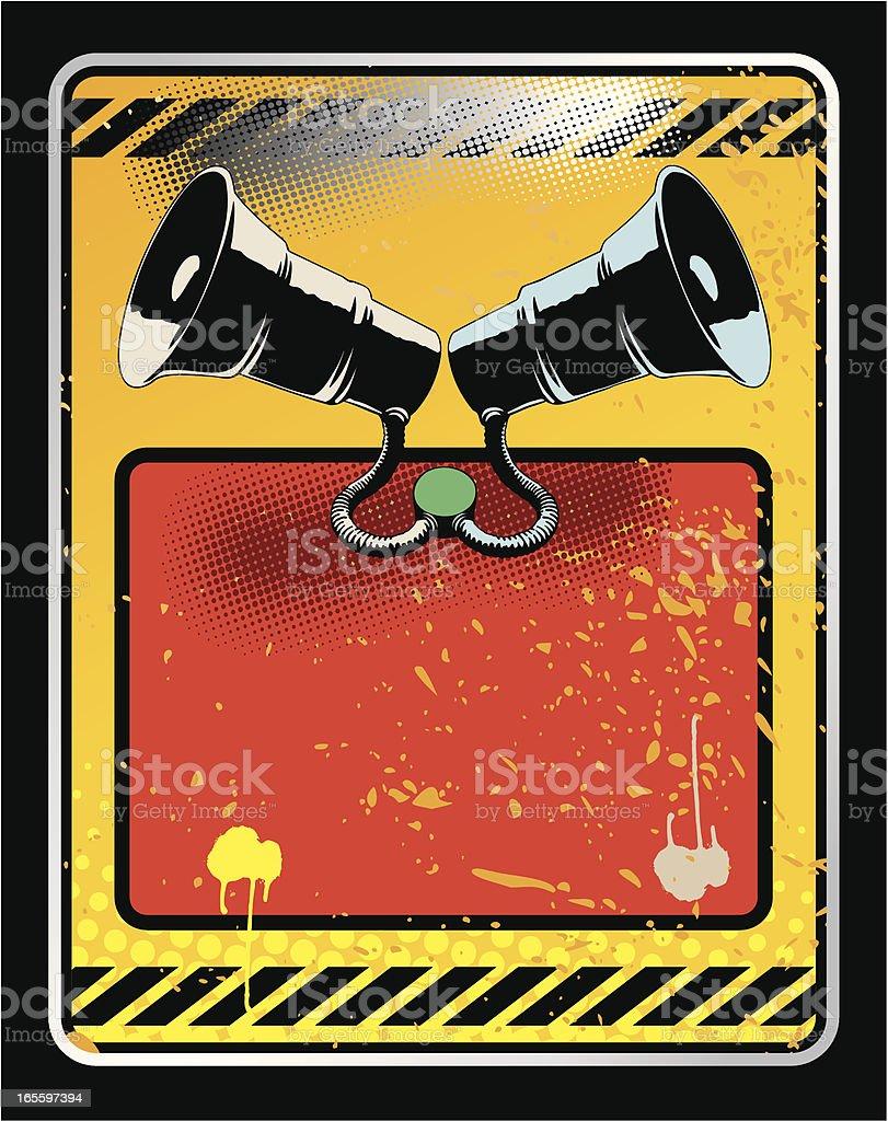 Grunge Señal de tráfico con Megaphons. ilustración de grunge señal de tráfico con megaphons y más banco de imágenes de arte cultura y espectáculos libre de derechos